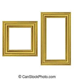 Set of Gold Wooden Frames