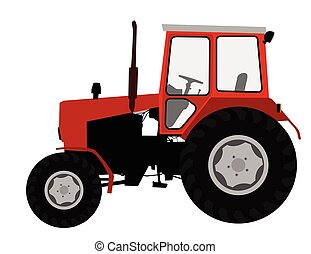 Agricultural tractor, farm vehicle - vector