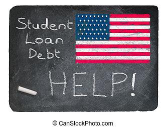 Student loan concept using chalk on slate blackboard -...