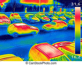Thermal image showing parked cars at town parking lot