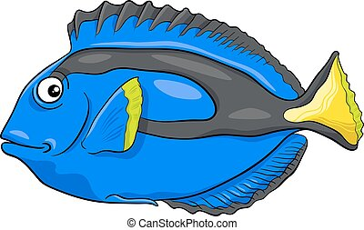 blue tang fish character - Cartoon Illustration of...