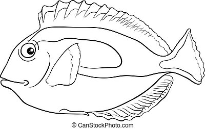 blue tang fish coloring page - Black and White Cartoon...