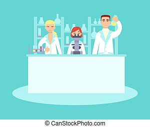 Scientists conducting research in laboratories. Flat design....