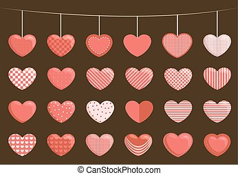 Collection of sewed hearts