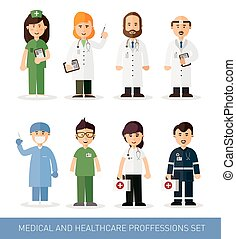 Medical professions collection - Set of doctors and nurses...