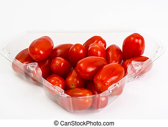 Small red oblong tomatoes. Studio Photo