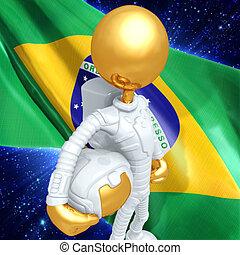 Gold Guy Astronaut - 3D Cartoon Astronaut Concept And...