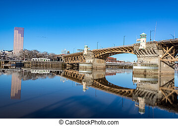 Burnside Bridge Reflection - Burnside bridge beautifully...