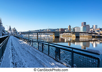 Downtown Portland and Walkway - Downtown Portland, Oregon...