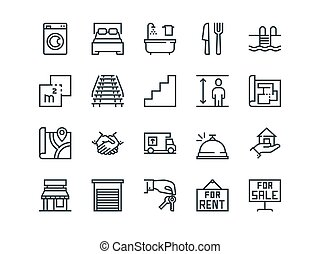 Real Estate. Set of outline vector icons