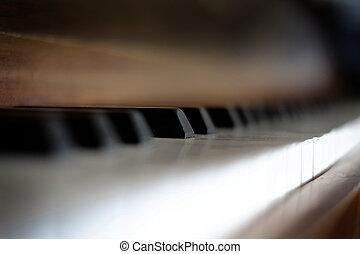 Piano Keys on Old Vintage Instrument Ebony & Ivory - Piano...