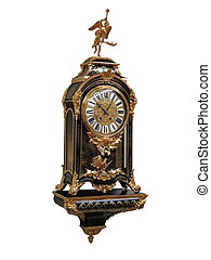 Antique French Gilt Bronze Boulle Clock on white background...