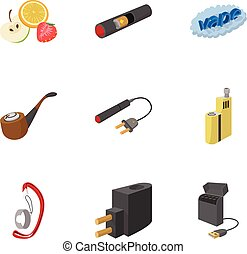 Electronic smoking cigarette icons set