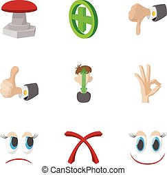 Cross and tick icons set, cartoon style