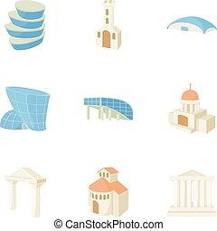 Habitation icons set, cartoon style - Habitation icons set....