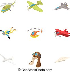 Air transport icons set, cartoon style - Air transport icons...