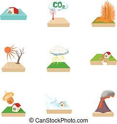 Natural disasters icons set, cartoon style