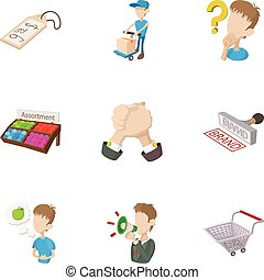 Shop icons set, cartoon style - Shop icons set. Cartoon...
