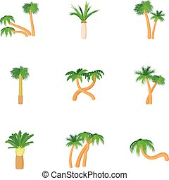 Types of palm icons set, cartoon style