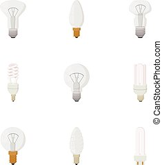 Lamp for home icons set, cartoon style