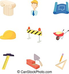 Repair icons set, cartoon style - Repair icons set. Cartoon...