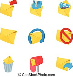 Communication icons set, cartoon style - Communication icons...