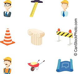 Construction tools icons set, cartoon style - Construction...