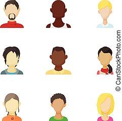 Avatar people icons set, cartoon style