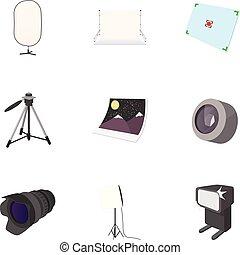 Photo icons set, cartoon style - Photo icons set. Cartoon...
