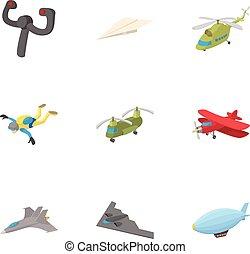 Flying machine icons set, cartoon style - Flying machine...