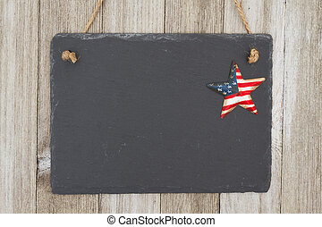 Old fashion patriotic hanging chalkboard background, A retro...