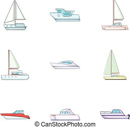 Ship boat travel icons set, cartoon style - Ship boat travel...