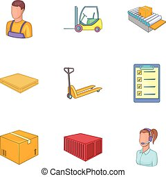 Warehouse transportation and delivery icons set