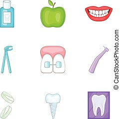 Dental tooth doctor icons set, cartoon style