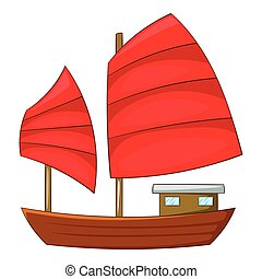 Junk boat with red sails icon, cartoon style - Junk boat...