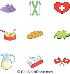Switzerland tourists attractions icons set - Switzerland...