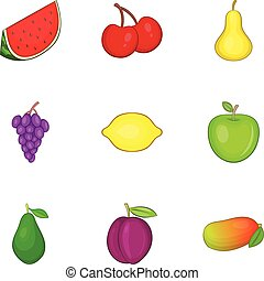 Different kinds of fruit icons set, cartoon style
