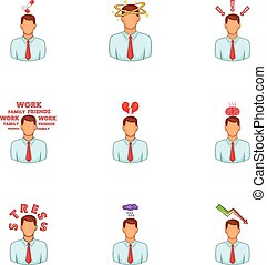 Depressed and stressed manager icons set. Cartoon...