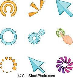 Pointer computer mouse icons set, cartoon style