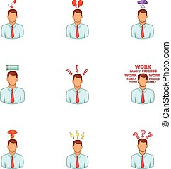 Stress and depression icons set, cartoon style - Stress and...