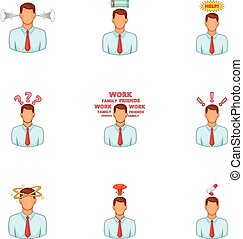 Businessman stress pressure icons set. Cartoon illustration...