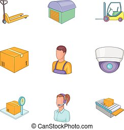 Service industry icons set, cartoon style