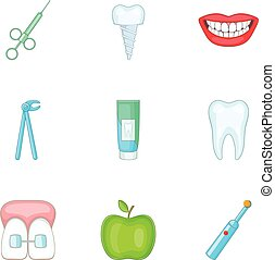 Healthy tooth icons set, cartoon style - Healthy tooth icons...