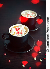 Coffee with marshmallow and small hearts - Two cup of coffee...
