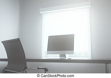 table with computer in boardroom. 3D Rendering