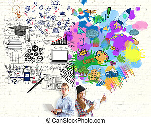Creative and analytical thinking concept - Young girl and...
