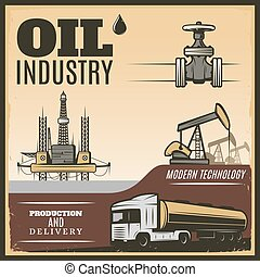 Vintage Oil Industry Poster - Vintage oil industry poster...