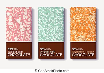 Vector Set Of Chocolate Bar Package Designs With Vintage...