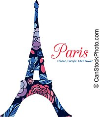 Vector Floral Eifel Tower Paris On St Valentines Day Of...