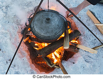 camping bonfire with bowler - winter camping bonfire with...